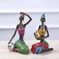 MRZOOT Sculpture Home Decoration Accessories African Statue Resin Statue Ornaments African Woman Staue Creative Sculpture