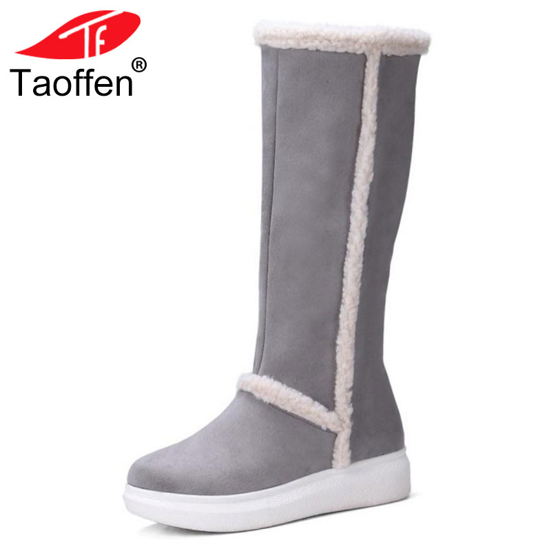 TAOFFEN Size 34-43 Cold Winter Snow Boots Women Warm Fur Inside Thick Platform Shoes Women Knee High Feminina Warm Flat Botas rizabina cold winter snow shoes women real leather warm fur inside ankle boots women thick platform warm winter botas size 34 39