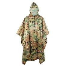 Camo Hunting Ghillie Suits Rain Poncho Polyester+PU Waterproof Raincoat Environmental Emergency Rain Poncho Outdoor Sportswear