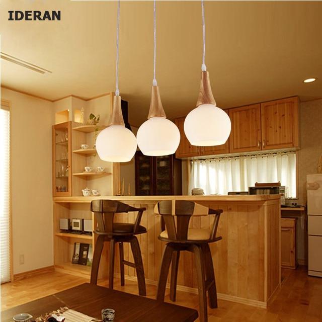 Anhänger Lichter Holz Lampen Glas Lampenschirm E27 Lampe Licht