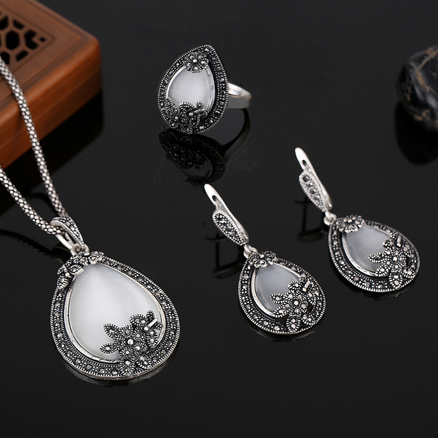 Hensen Vintage Silver Plated Jewellery Water Drop Shape Opal Jewelry Sets Crystal And Natural Stone Necklace Earrings Ring Set
