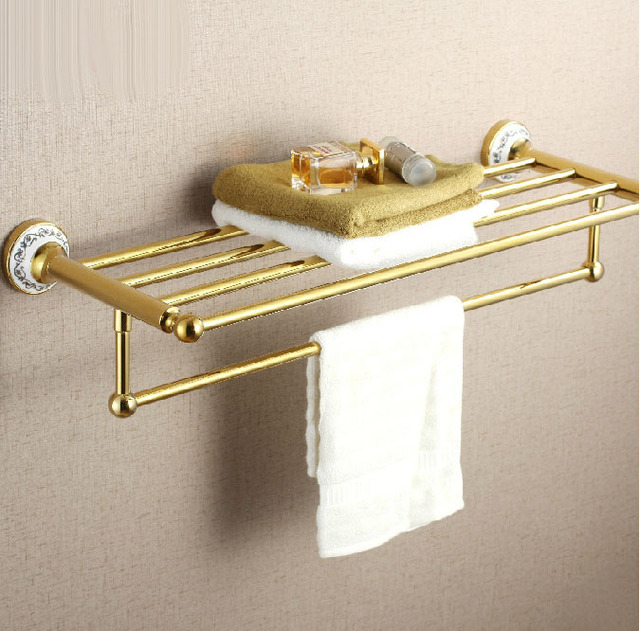 Europe Gold Polish Bathroom Towel Shelf Wall Mount Towel Rack With ...