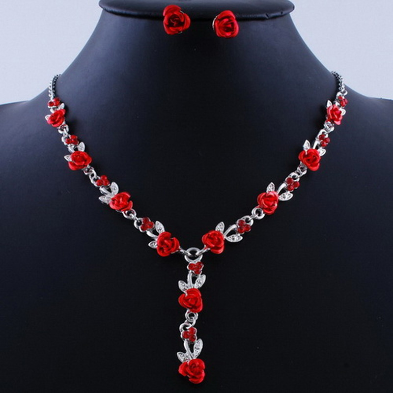 Silver Color Bridal Fashion Jewelry Sets Red Rose Statement Necklace Earrings Wedding Jewelry for Women Gift in Jewelry Sets from Jewelry Accessories