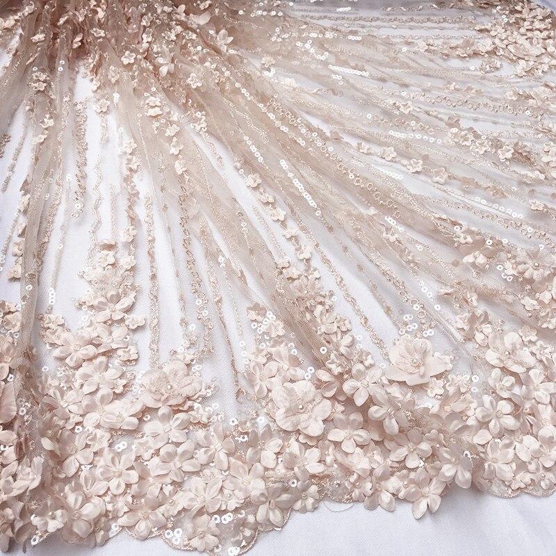 Panlonghome 3D цветок Вышивка Кружево Ткань креветки Розовый и красный цвет ручной работы Бусины Ткань свадебное платье DIY ткань