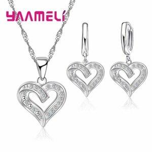 Ювелирный Набор из стерлингового серебра 925 пробы, ожерелье, серьги, любовь, неправильная форма, модный стиль, рождественский подарок для же...