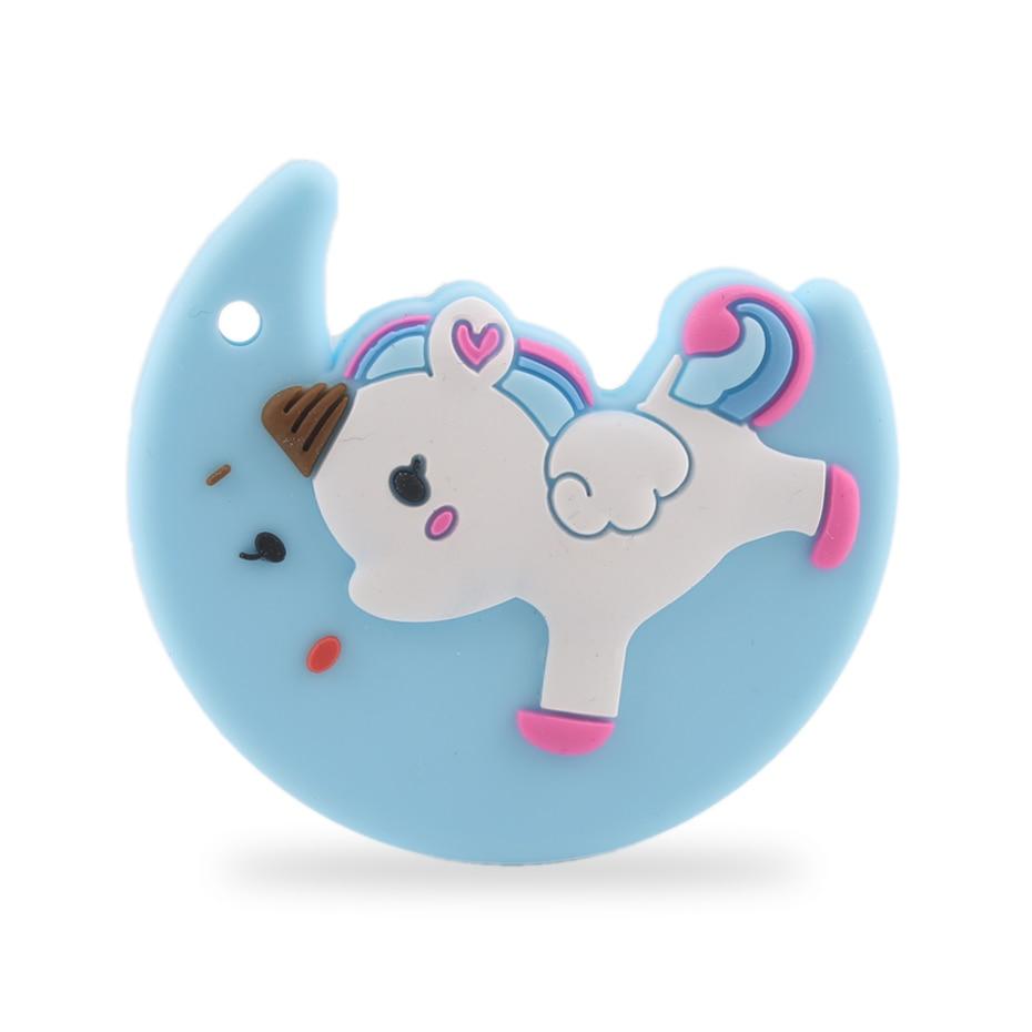Давайте сделаем 2 шт. Детские Прорезыватели для зубов Moon Единорог Цепочки и ожерелья подвеска BPA Бесплатно Силиконовый Прорезыватель Baby Shower ...