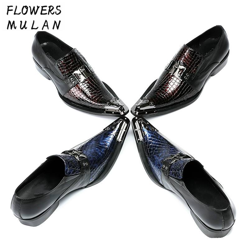Foreign Trade Hot Selling Patchwork Genuine Leather Men Dress Shoes Fashion Metal Pointed Toe Slip On Man Party Night Club ShoesForeign Trade Hot Selling Patchwork Genuine Leather Men Dress Shoes Fashion Metal Pointed Toe Slip On Man Party Night Club Shoes