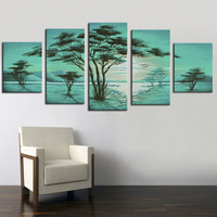 絵画書道壁写真グリーンツリー風景油絵キャンバスフレームレス5パネル手作り手芸作品