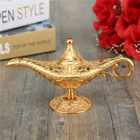 Newest Metal Carved Aladdin Lamp Light Wishing Tea Oil Pot Decoration Collectable Saving Collection Arts Craft