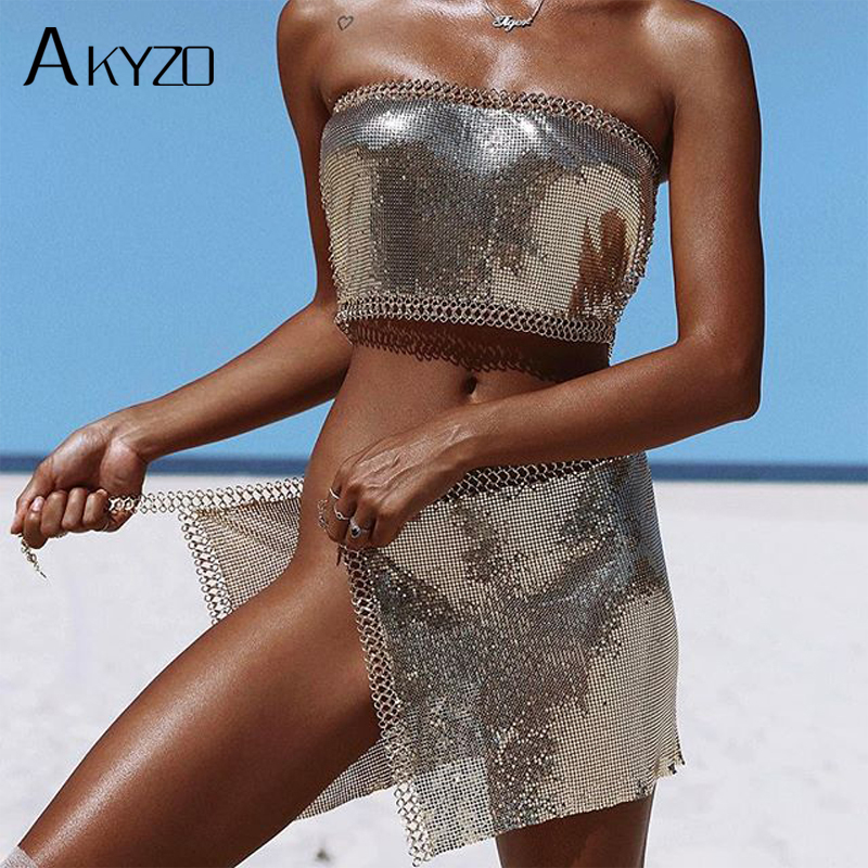 AKYZO 2017 Summer Sexy Dress Shine Bling Metal Chain Halter Split Two Pieces Women Party Dresses Club Sexy 3 Colors Women Sets
