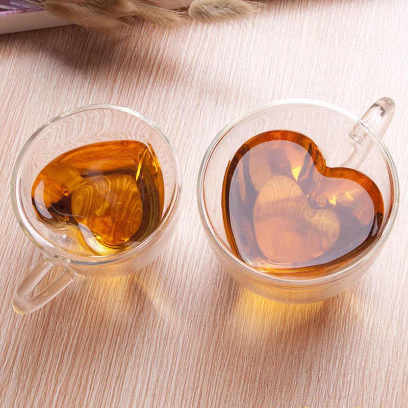 Đôi Tường Glass Tea Cup Nhiệt-chống mài mòn Trái Tim Sáng Tạo-có hình dạng Đôi Hai Lớp Ly Trà Thủy Tinh Nước Trái Cây Cốc Cốc Cốc Sữa cà phê Cup Đẹp Quà Tặng
