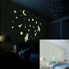 Glow In The Dark Wall Decals,3D Stars window stickers, Planets And Bonus Moon. Kids Room Self Adhesive Luminous Stickers.