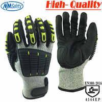NMSafety botas de trabajo guantes de protección resistente a los cortes y Anti-vibración de guantes de seguridad de HPPE + cortar y Shock guantes