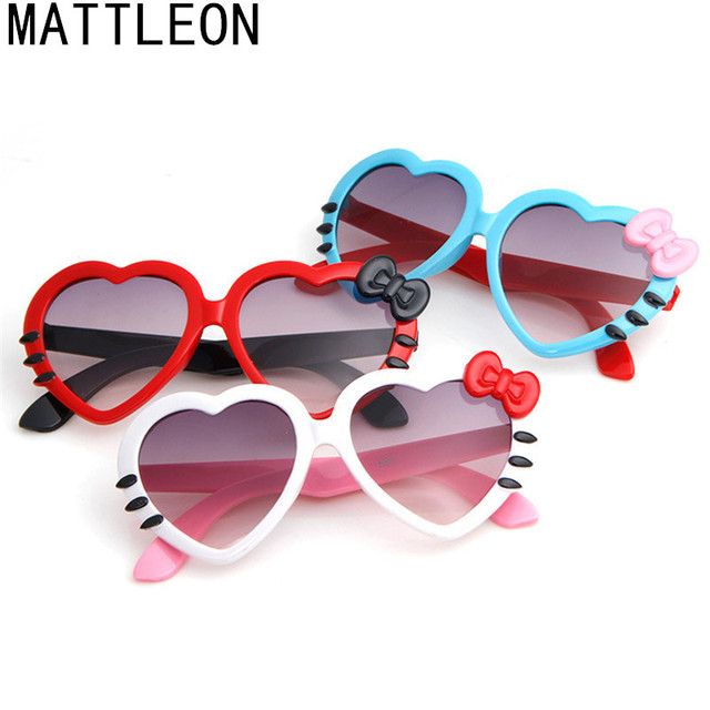 Kids Girls Boys Anti-UV Sunglasses Glasses Colorful Heart Bow-knot Goggles Cute peach bow sunglasses suitable for 2-8 years old