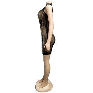 Image 5 - Gợi Cảm Dạ Hội Câu Lạc Bộ Pha Lê Kim Cương Sheer Lưới Bodycon Đầm Nữ Sumdress Casual Dây Không Tay Mini Mùa Hè Vestidos