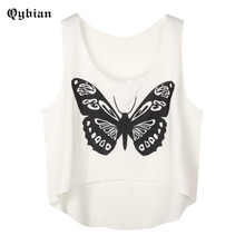 Qybian Summer 2017 butterfly printed Crop Top Short Female Women's Sexy Camis Short Vest Cropped Feminino Tank Top