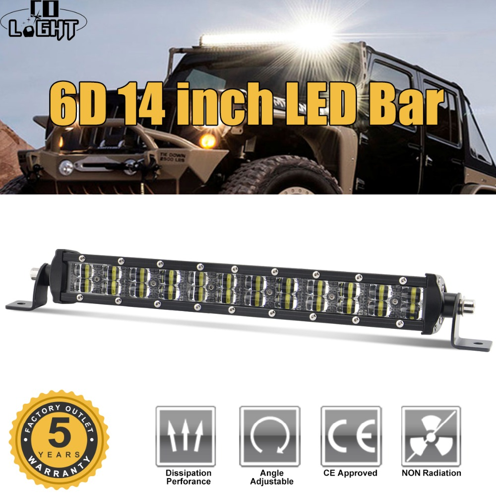 CO свет супер тонкий 6D светодиодные панели 14 72 Вт 4x4 Offroad Led бар 2- ряду Combo Led лучи для грузовик ATV Лодка Трактор свет работы 12 В
