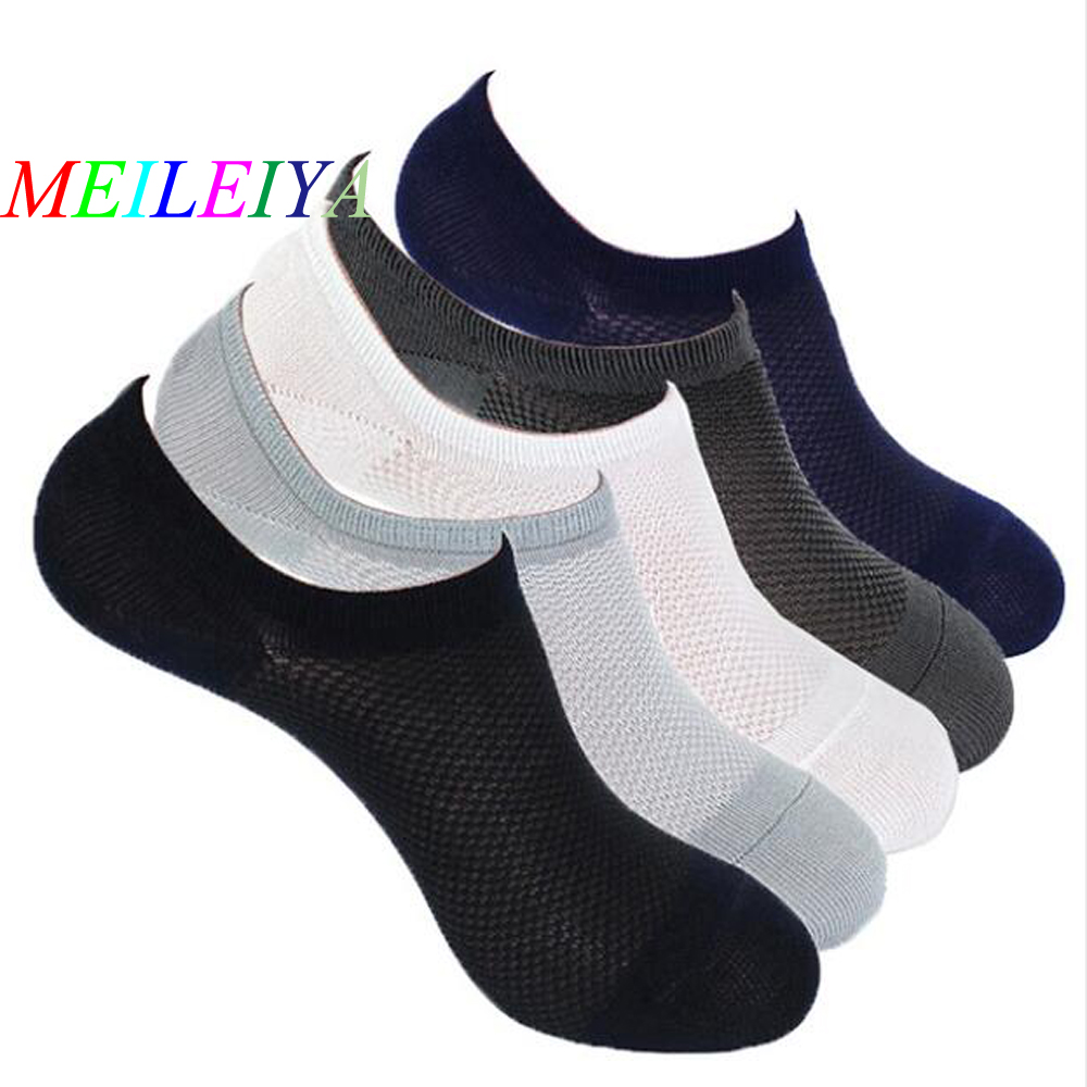 MEILEIYA 1 Pair New Mesh Knitting Monochrome Men's Boat Socks For Bamboo Fiber Invisible Silicone Slip Socks Design Breathable