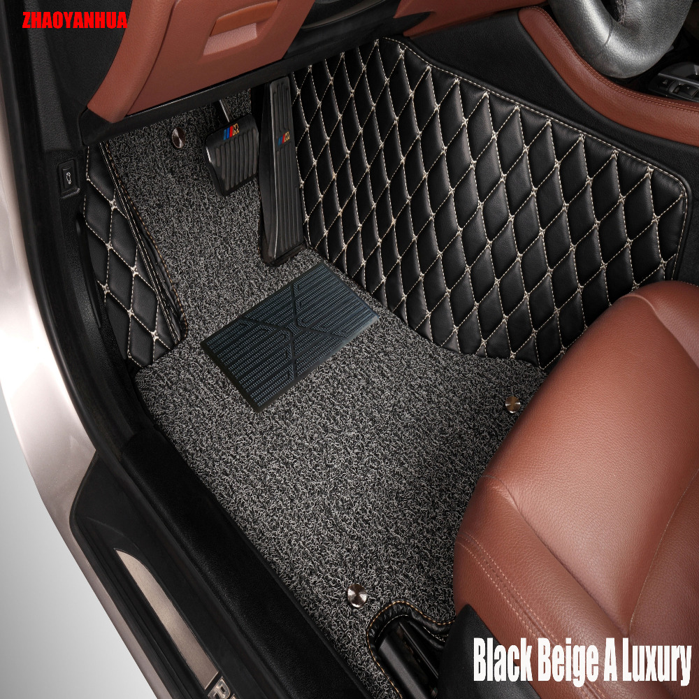 Zhaoyanhua car floor mats case for toyota camry corolla rav4 mark x crown verso cruiser car styling leather anti slip carpet lin