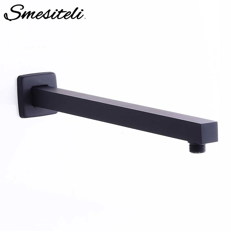 Smesiteli Free Shipping Wholesale and Retail Wall Mounted 16-Inch Solid Brass Square Shower Arm in Matte Black BothroomSmesiteli Free Shipping Wholesale and Retail Wall Mounted 16-Inch Solid Brass Square Shower Arm in Matte Black Bothroom