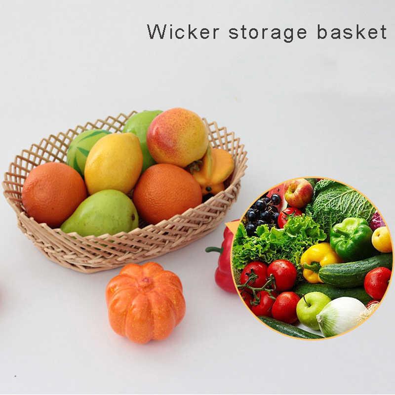 Творческий ручной bamboo корзина для хранения Плетеный материал для хранения фруктов и овощей хлеб корзины мусора organizer-66838