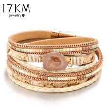 17KM 3 Style Bohemian Beads Stone Charm Bracelets For Women Weave Rope Leather Multiple Layers Bracelet Jewelry Drop Shipping(China)