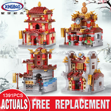 Xingbao 01101 Blocks 1391Pcs the creative MOC Chinese architecture Series Children Educational Building Bricks Toys Model