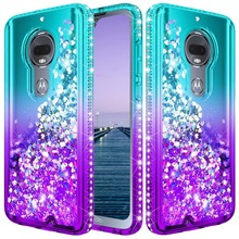 For Motorola Moto G7/Plus Case lovely  quicksand Bling cute Sequin Glitter Diamond Hard Clear Back Shockproof anti-drop Cover