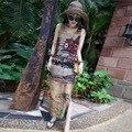 2016 Новая Мода Лето Женщин Сторона Сплит Рукавов Танки Vestidos О-Образным Вырезом Случайные Прямые пейзажи Печати Maxi Dress CL2592