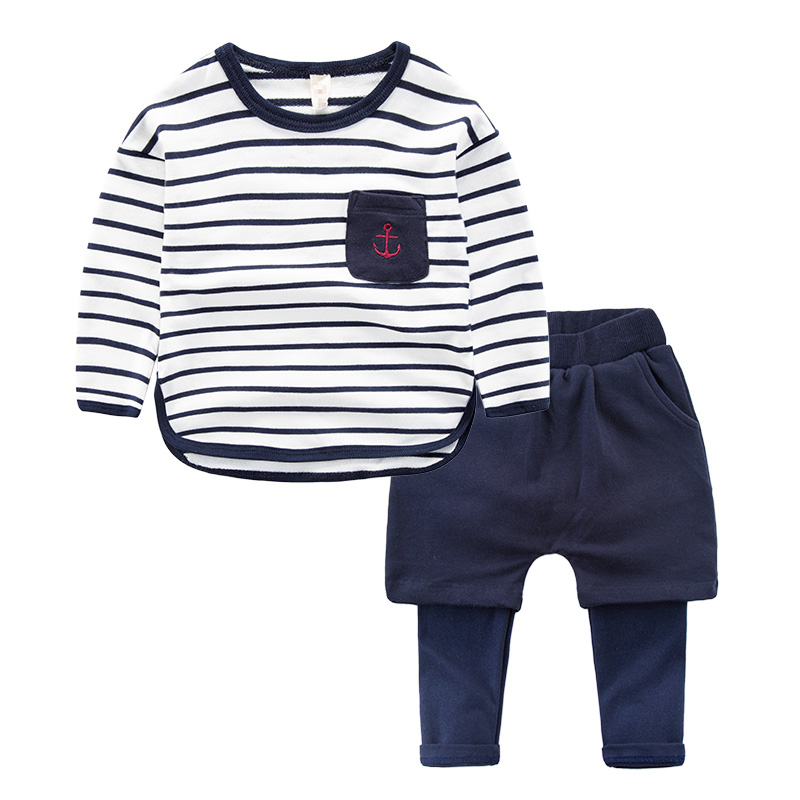 Bay Boys Clothes Set New Year's costumes for boys Striped T-shirts + Fake Two Pieces Pants 2PC Sport Suit 2018 children clothing купить в Москве 2019