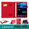 Con tarjeta monedero de lujo del cuero de la pu case cubierta para lenovo yoga tablet 2 10 1050f 1050 1051f 1050l 10.1 tablet case + película