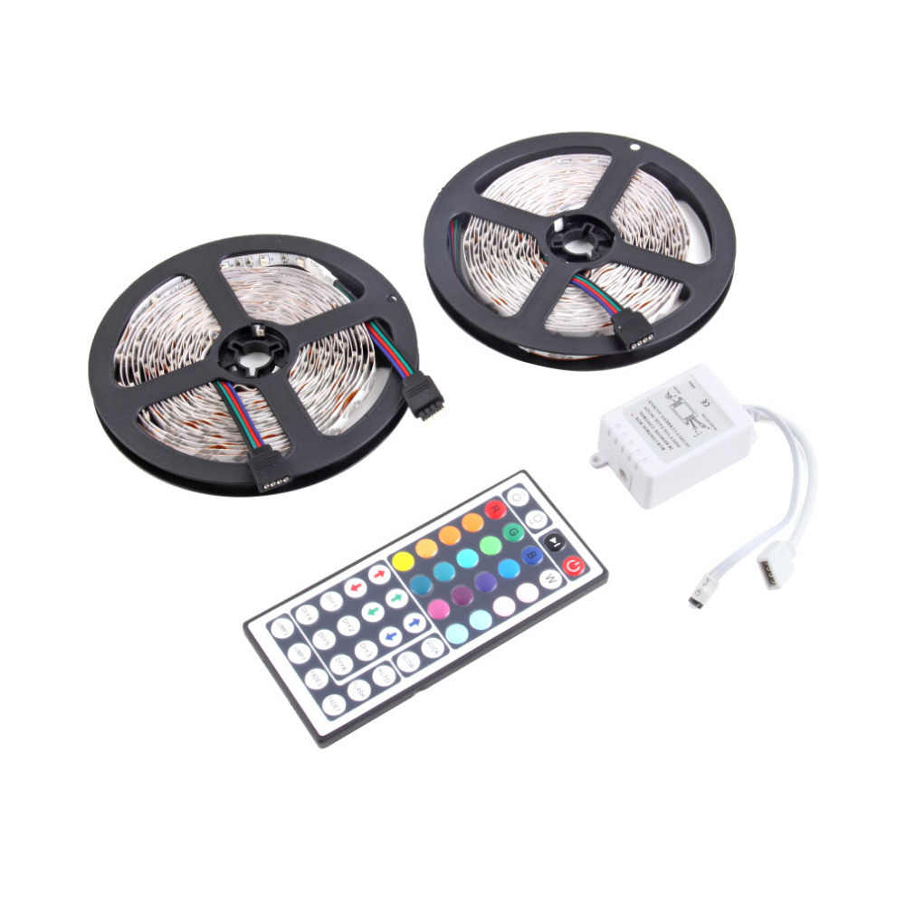 10 M 600 LED 3528 SMD RGB 2X5 M Lampu LED Strip + 44 Kunci Remote Kontrol IR grosir Drop Pengiriman