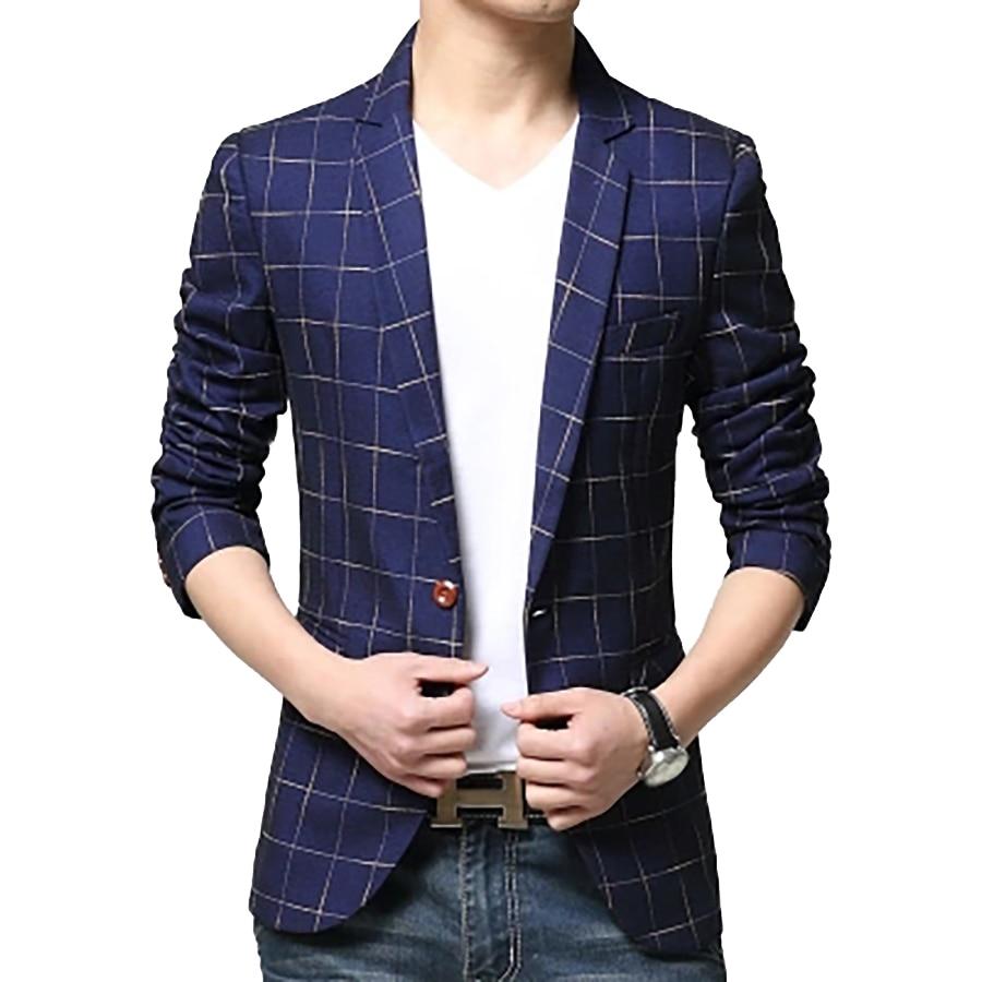 Plaid coreano de la chaqueta de la chaqueta de los hombres - Ropa de hombre