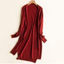 LHZSYY 2019Spring New Women' Wool Knit Jacket Solid color Pocket Long Without Button Cardigan Asymmetric Split Wild Soft Sweater цена