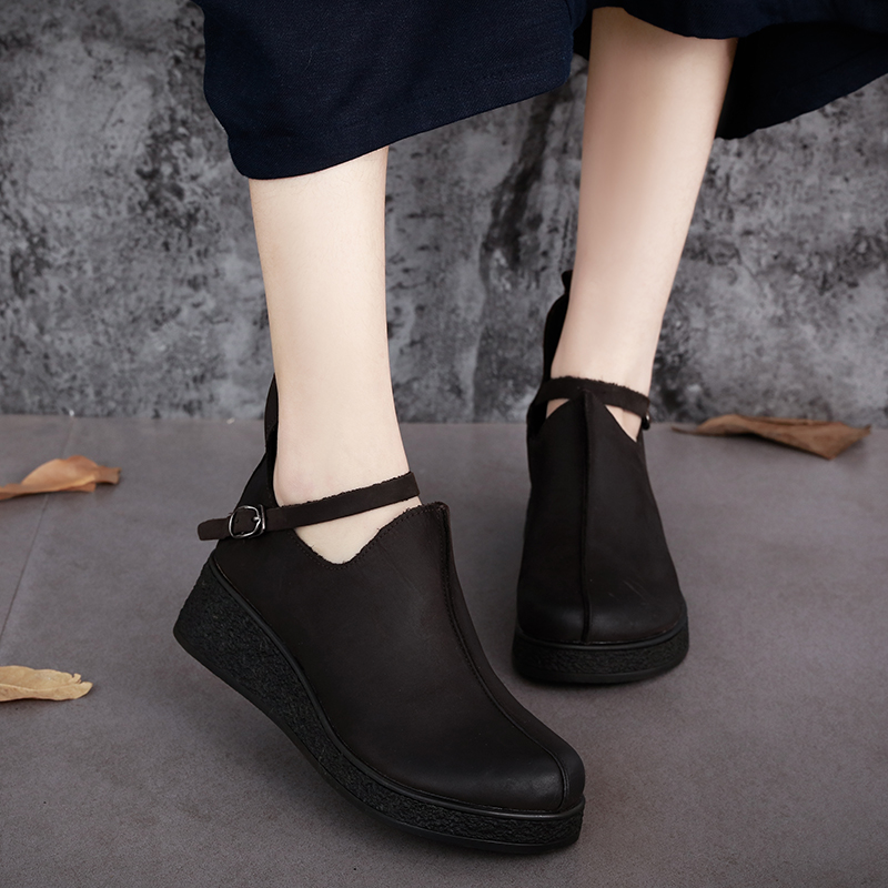 ФОТО Genuine Leather Round Toes Women Shoes Flat Platform 2017 Autumn Cowhide Women Shoes Buckle Strap