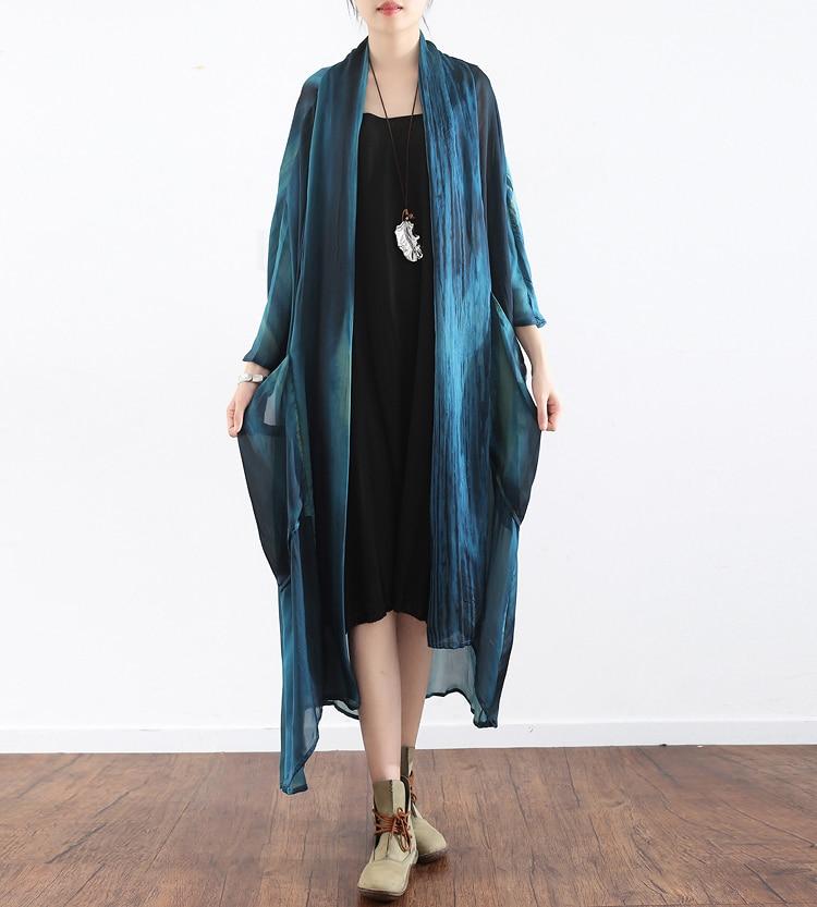 Women's Fashion Blouses printing kimono cardigan Ladies Long Blouse Silk linen Loose Shirts Casual Summer Tops Half Sleeves Coat