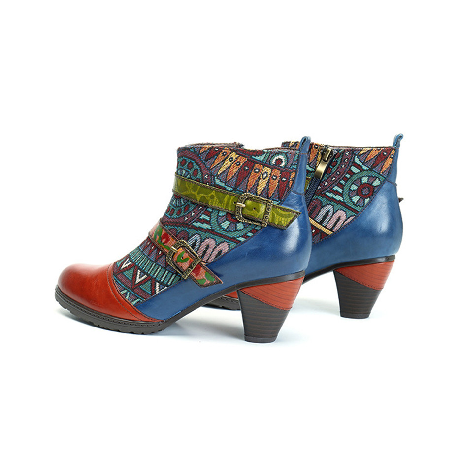 D Knight Brand Plus Size Women Ankle Boots Vintage Patchwork Female Short Boots Fashion Side Zip Print Buckle Lady Shoes Booties (9)