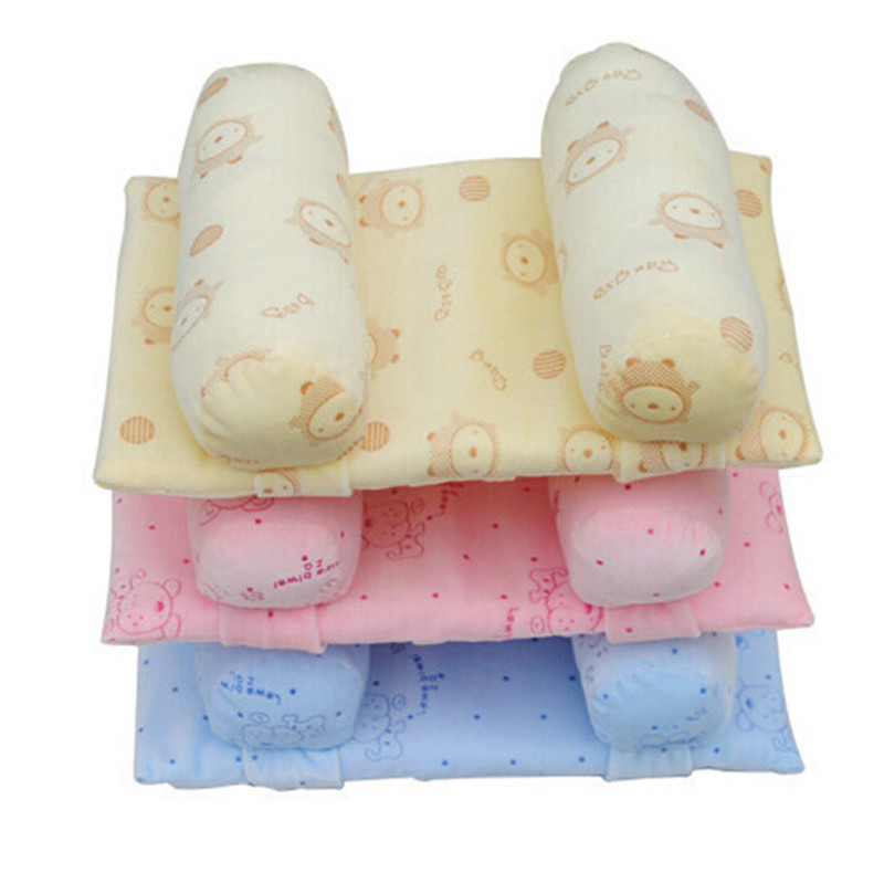 Infant Baby Soft Pillow Prevent Flat Head Anti Roll Cushion Sleeping Support Baby Cotton Pillows Cute Anti-heading Pillow