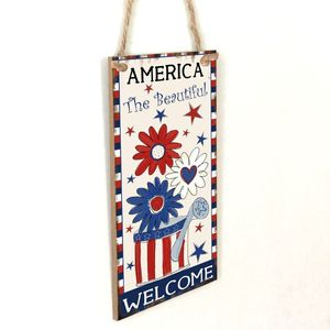Image 2 - Vintage Wooden Hanging Plaque America The Beautiful Sign Board Wall Door Home Decoration Independence Day Party Gift