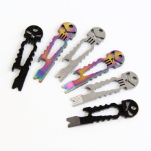 SALE!6PCS/LOT Skull EDC Multifunctional Tool W/Pry Bar Bottle Opener Spanner Key Tool  Keychain ,FREE SHIPPING
