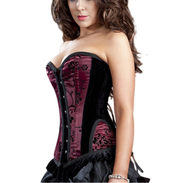 b6295ba03b Vintage Floral Corset Sexy Tight Lacing Up Satin Velvet Patchwork Underbust  Corset Woman Slimming Waist Corsets With Draped