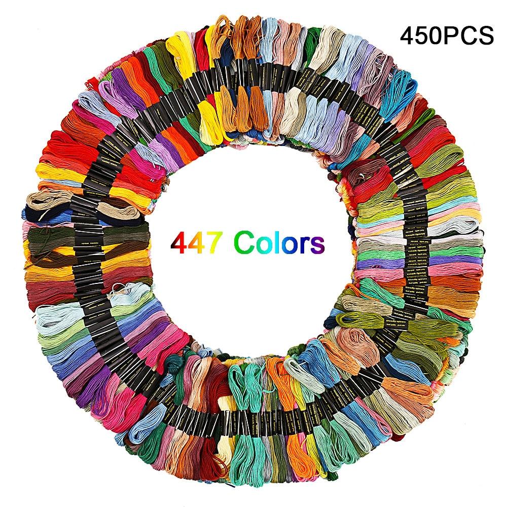 450 pièces/447 couleurs similaires DMC point de croix fil bricolage couture écheveaux broderie fil fil fil Kit outils de couture