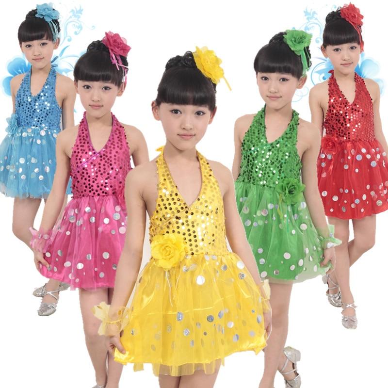 Kids Girls Backless Sequined Ballet Dance Latin Ballerina Jazz Tutu Costume Party Dress