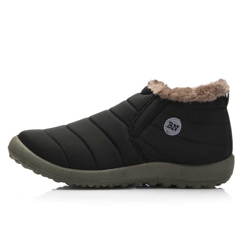 Snow Boots New Fashion Men Winter Shoes Solid Color Snow Boots Plush Inside Antiskid Bottom Keep Warm Boots Size 41-47 Black Brown Grey
