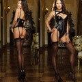 Mulheres Sexy Lingerie erótica de Lingerie define Babydolls trajes preto Sexy rebites C1429