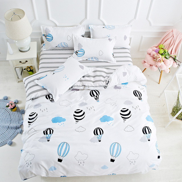Hot Air Balloon King Queen Single Size Or Bedding Set Kids Cotton Bedcloth  Bed Cover +