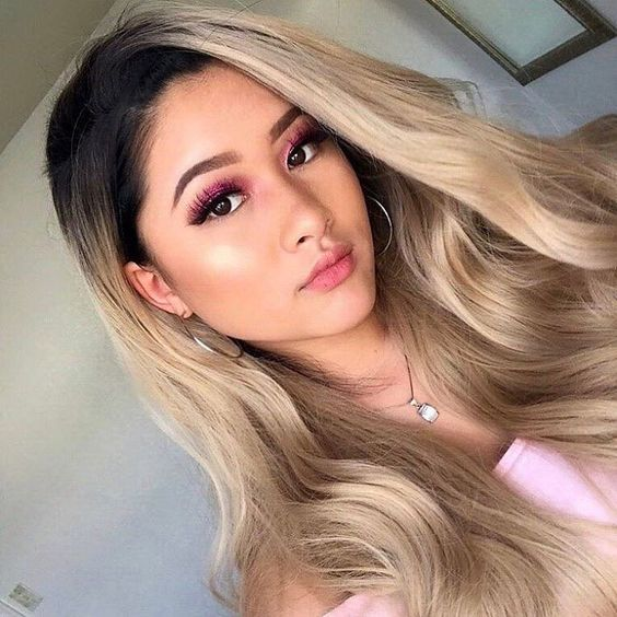 Pageup Middle Part Ombre Blond Wig For Women Heat Resistant Fiber Ladies Daily Cosplay Long Wavy Hair Curly Synthetic Blonde Wig (10)