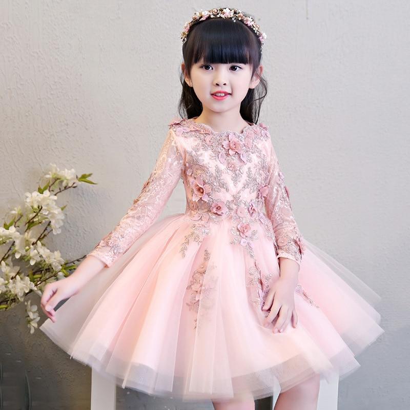 Glizt Flower Girls Pink Wedding Dresses Kids Long Sleeve Bead Appliques Lace Party Princess Birthday Dress