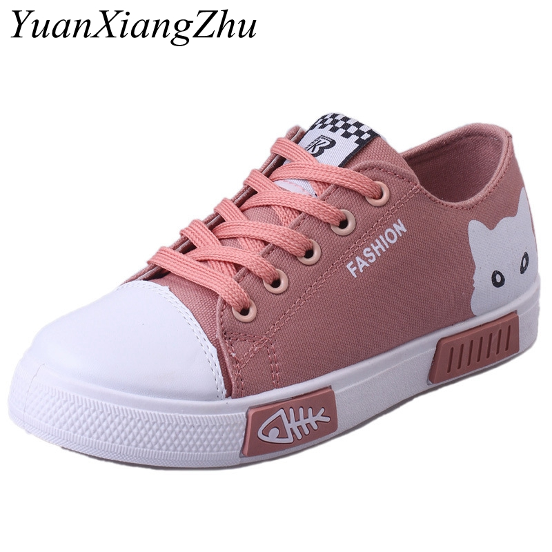 Summer Women Canvas Shoes 2018 New China Hot Flats Women Casual Shoes Korean Cute Cartoon Lace Up Student Canvas Women Shoes HOT 2017 patchwork lace up rubber sole canvas shoes breathable super leisure women casual shoes with flats student shoes rm 05