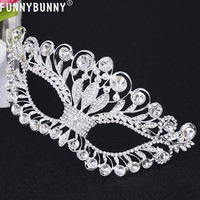 FUNNYBUNNY Masquerade Mask Luxury Diamond Rhinestone Fancy Mask Party Crown Mask for Women Lady Mask Halloween Mardi Gras